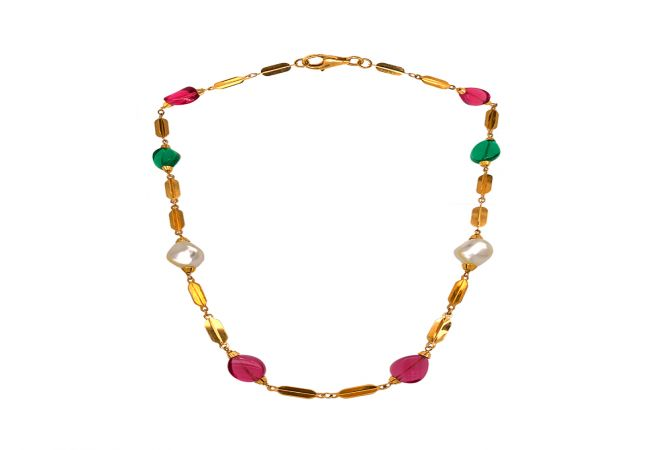 Delicate Synthetic Gemstone 22kt Yellow Gold Link Necklace -CHN18078