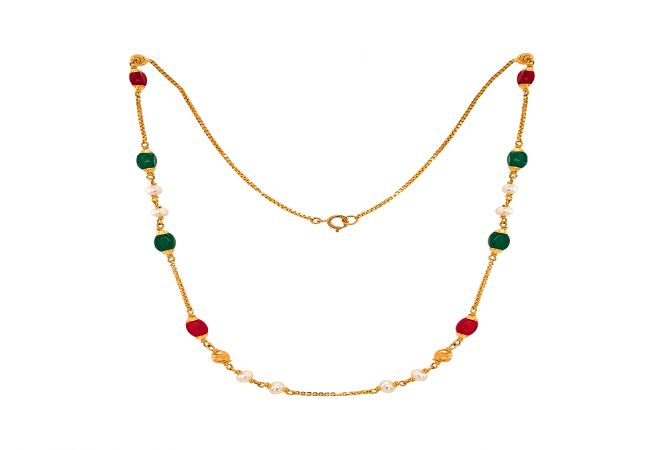 Elegant Synthetic Gemstone 22kt Yellow Gold Box Chain Link Necklace -CHN19088