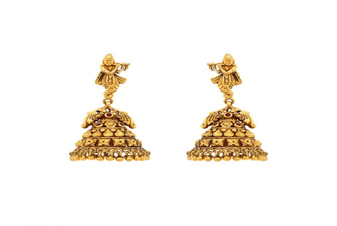 Antique Textured Temple Gemstone 22kt Yellow Gold Jhumka -TPP28785