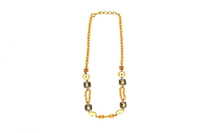 Traditional Enamel Kundan Party Wear 22kt Yellow Gold Necklace -VAR1250