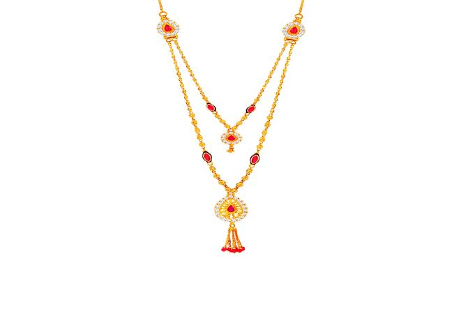 Traditional Textured Ball Layered Drop Gemstone CZ Gold Necklace