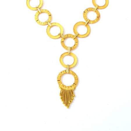 Stylish Circular Textured Link Gold Necklace