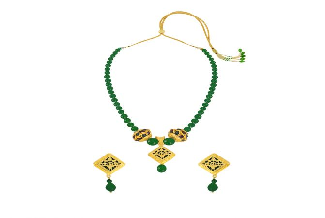Fancy Green Onyx Thewa Jewellery Necklace Set