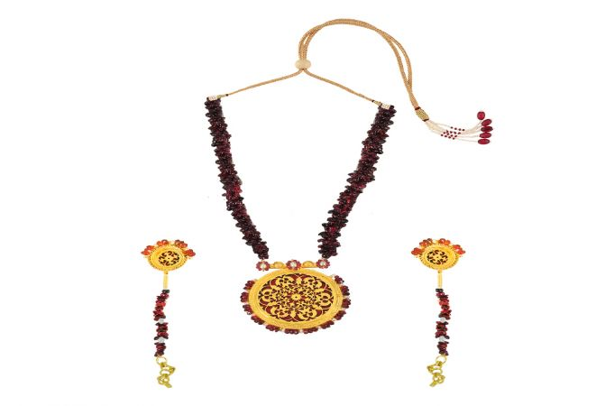 Magnificent Red Onyx Thewa Jewellery Necklace Set