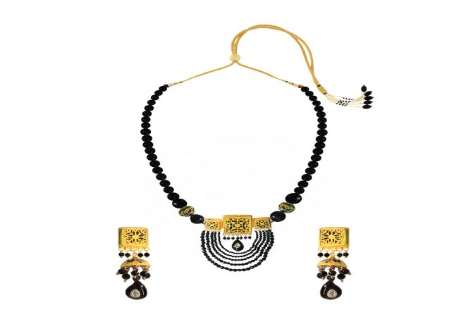 Unique Black Onyx Thewa Jewellery Necklace Set