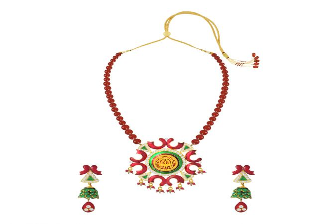 Exotic Gemstone Thewa Necklace Set