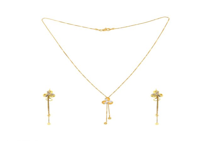 Trendy Floral CZ Lariat Gold Necklace Set