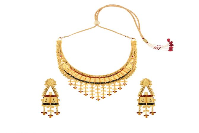 Ceremonial Textured Embossed Enamel Gold Necklace Set