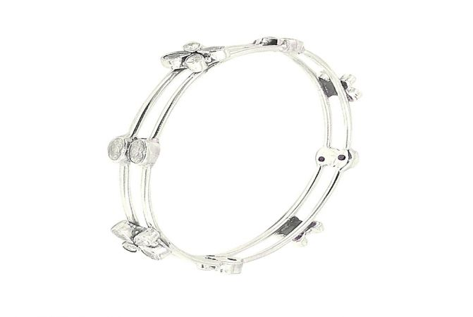 Exquisite CZ 925 Silver Bangle