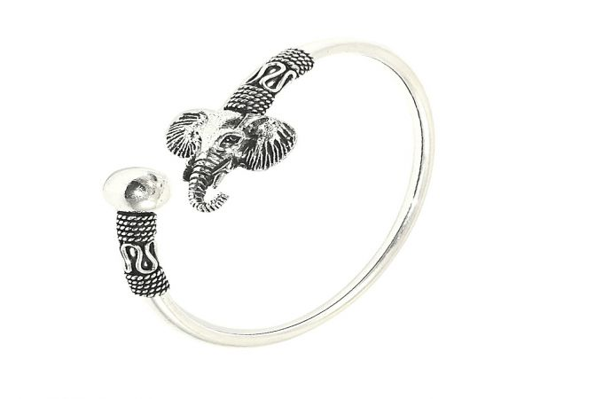 Playful Elephant Oxidized 925 Silver Flexi Bracelet
