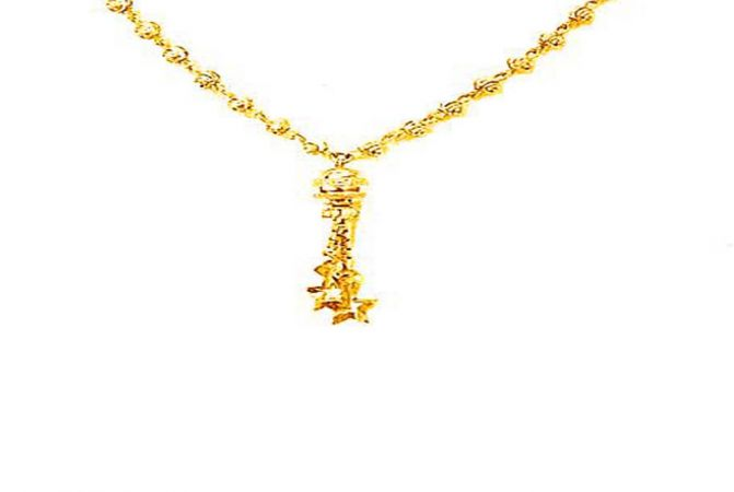 Traditional Textured Dangler Casual Wear Yellow Gold 22kt Chain -260-CHN123