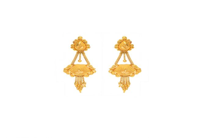 Traditional Textured Paisley Dangler Gold Earrings -18k401