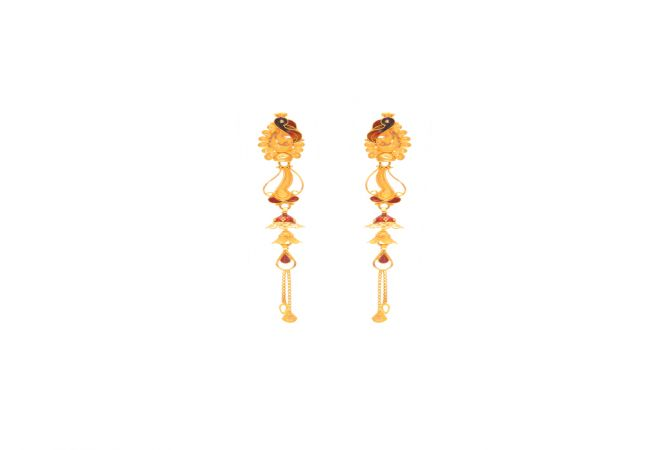 Ceremonial Enamel Peacock Dangler Gold Earrings -18k636