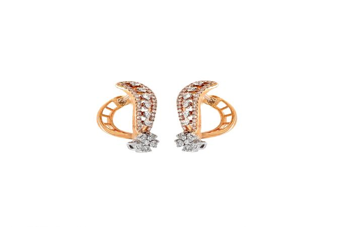 Dainty Floral Curved Diamond Gold Earring