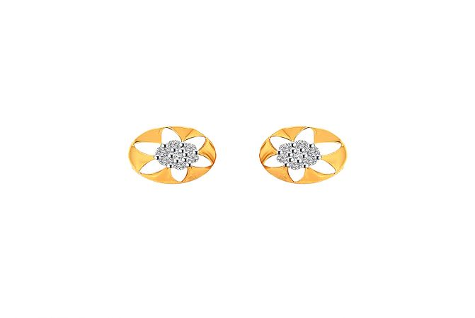 Floral Cutout Cluster Diamond Gold Earring