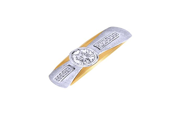 Unique Single Diamond Two Tone Gold Ring- DR_2868