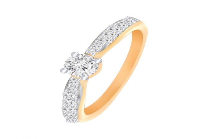 Sparkling Solitaire Diamond Gold Ring- DR_3566