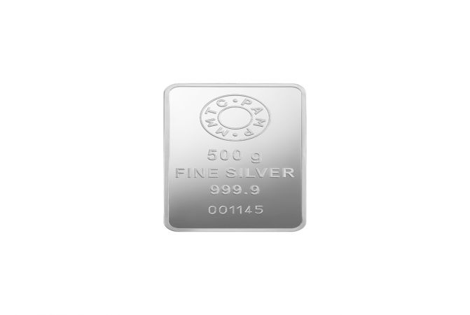 Casted Silver Ingot MMTC PAMP 500 Gms 999 Purity Silver Bar
