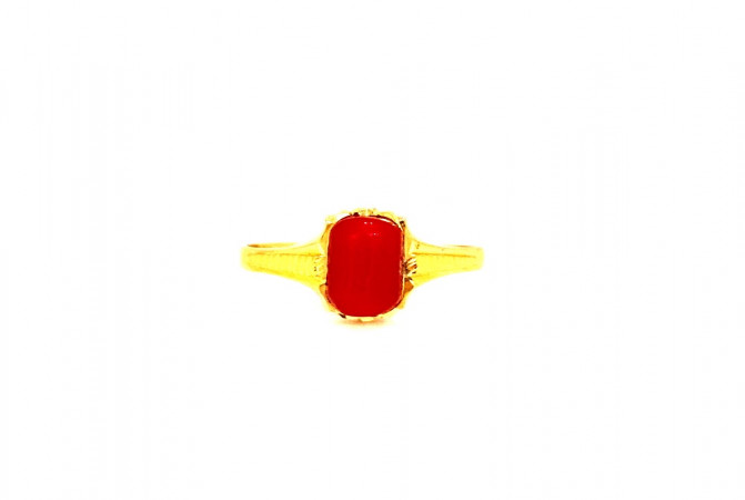 Traditional Synthetic Coral Studded Daily Wear Yellow Gold 22kt Ring For Men -275-120039966