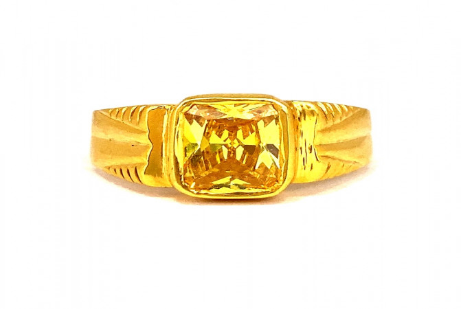 Traditional Synthetic Gemstone Daily Wear Yellow Gold 22kt Ring For Men -275-120083317