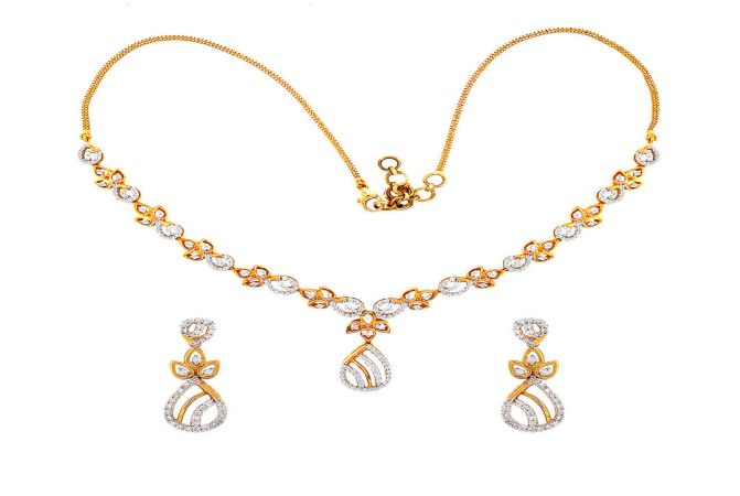 Sparkling Drop Diamond Gold Necklace Set