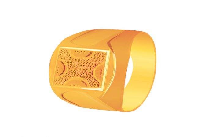 Traditional Textured Gold Ring For Men -5640
