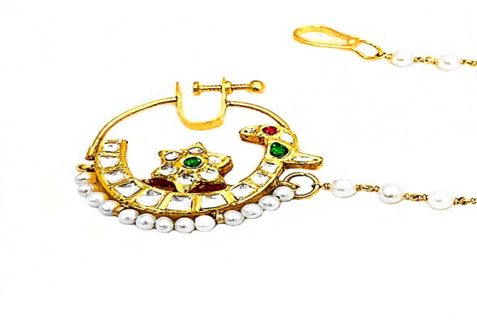 Ceremonial Synthetic Kundan Pearl Wedding Yellow Gold 22kt Nose Pin -283-8043