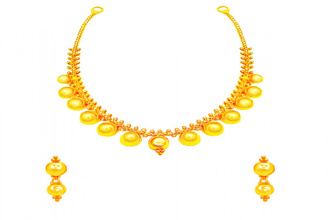 Traditional Bead Wedding Yellow Gold 22kt Necklace Set -283-8108