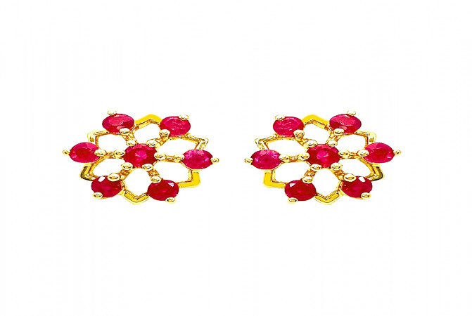 Traditional Synthetic Ruby Daily Wear Yellow Gold 18kt Earrings -283-D5157