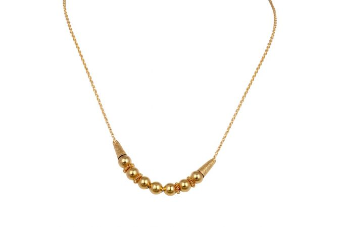 Glossy Finish Textured Design Gold Ball Chain-3-A4806