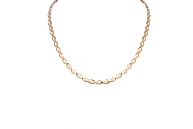 Glossy Finsih Curb Linkeded With Natural Pearl Gold Necklace-3-A4812
