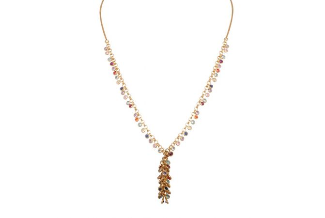 Curb Linked Chain With Drop Synthetic Multicolour Stone Gold Chain-3-A4850