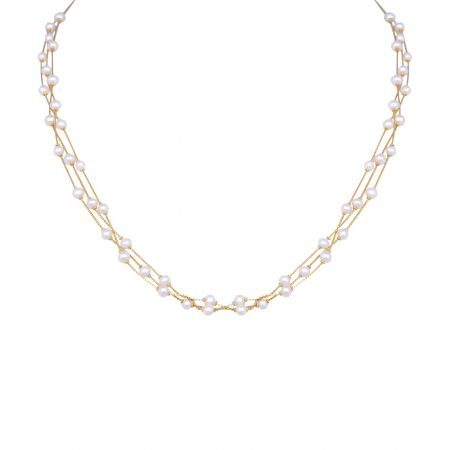 Glossy Finish Multiline With Synthetic Pearl Gold Chain-3-A4853