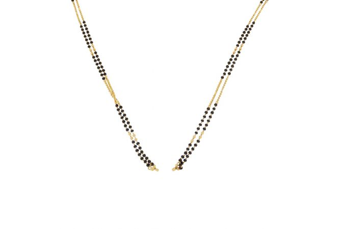 Glossy Finish Two Line Gold Mangalsutra Chain Design-31672