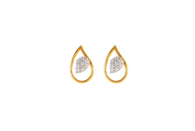 Glossy Cluster Curved Drop Diamond Earrings - 32DT85