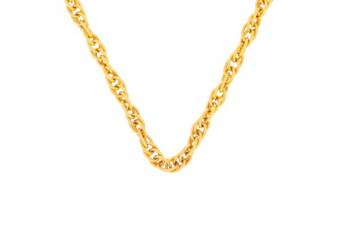 Glossy Finish Jumbled Linked Design Gold Chain