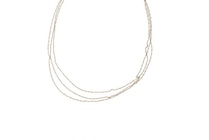 Elegant Three Line Linked Synthetic Preal Gold Chain-33518