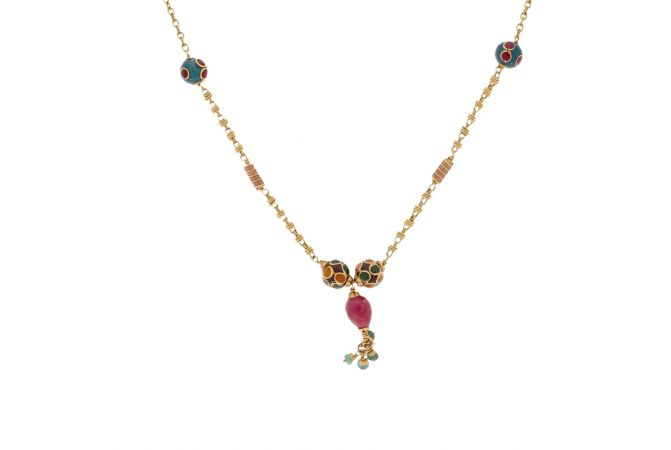 Glossy Finish Drop Multicolour Synthetic Colour Stone With Enamel Curb Linked Gold Chain-348