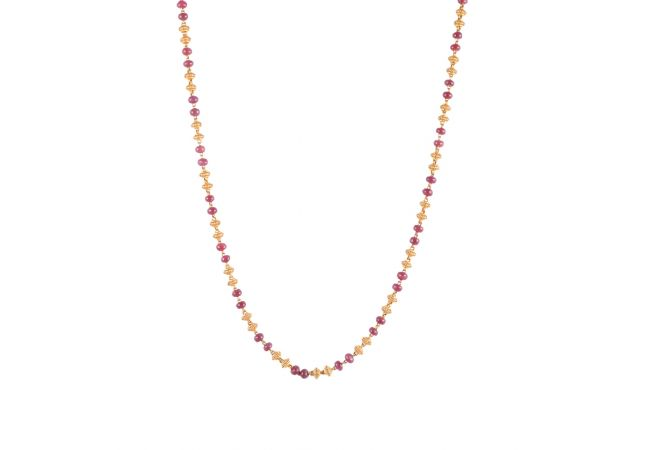22kt Gold Spring With Ruby Bead Chain - 357