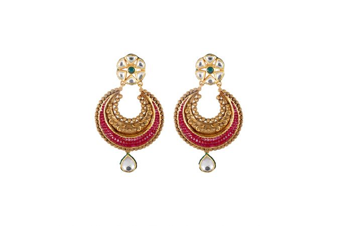 Multicolour Stone Drop Kundan Chandbali Gold Earring - 3AT289