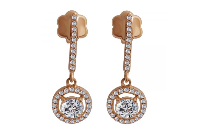 18kt Rose Gold Pave Prong Set Cluster With Solitaire Diamond Earring-3EGZI