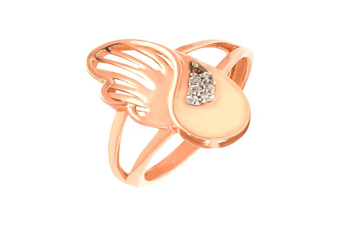 Delight Curve Cutout Daily Wear 18kt Rose Gold CZ Ring -60448007