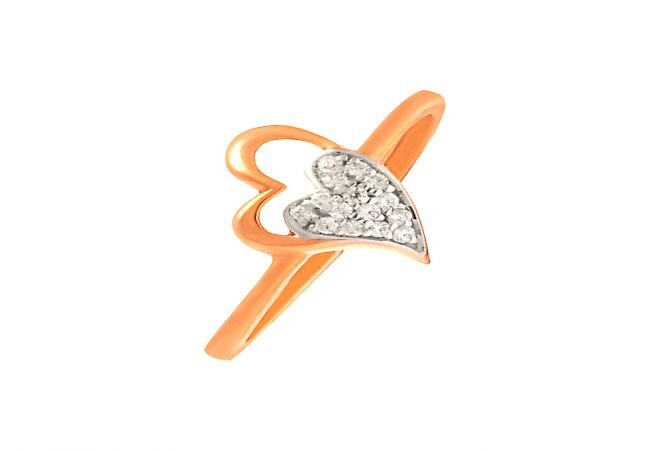 Glittering Cluster Heart Daily Wear 18kt Rose Gold CZ Ring -60448008