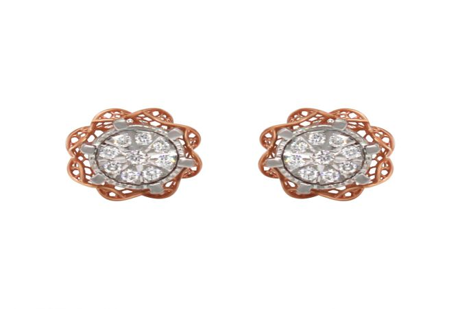 Trendy Cluster Cutout Two Tone Diamond Gold Earring-ER-M21