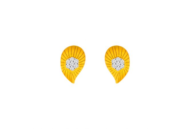Cluster Textured Paisley CZ Gold Earrings
