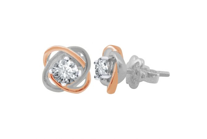 18kt Two Tone Prong Set Single Solitaire Diamond Spiral Earring-4FC4B