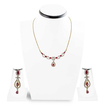 Diamond Necklace set , Sets -DHS149-DT635