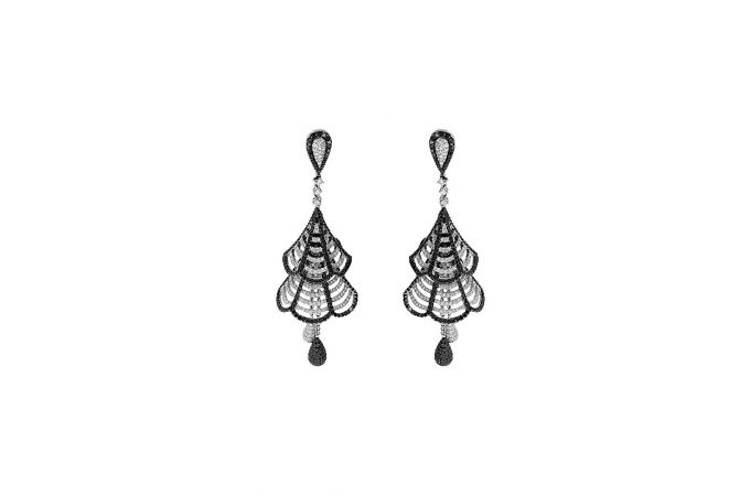 Sparkling Cutout Dangler Hook Diamond Earrings