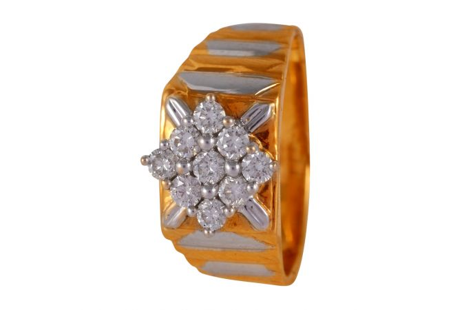 Two Tone Glossy Finish Cluster Diamond Mens Ring - 58ADGR52