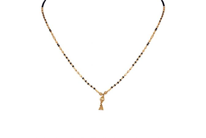Daimond Cut Drop Gold Ball With Black Beads Mangalsutra-6-A1061